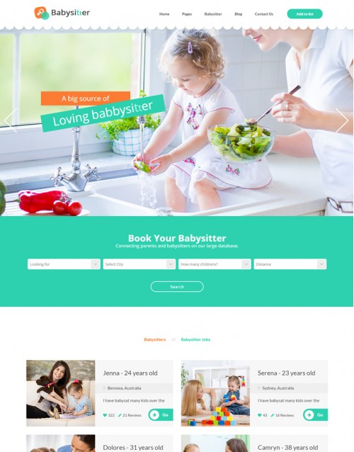 Template HTML5 Baba de Crianças, Multi Page Babysitters