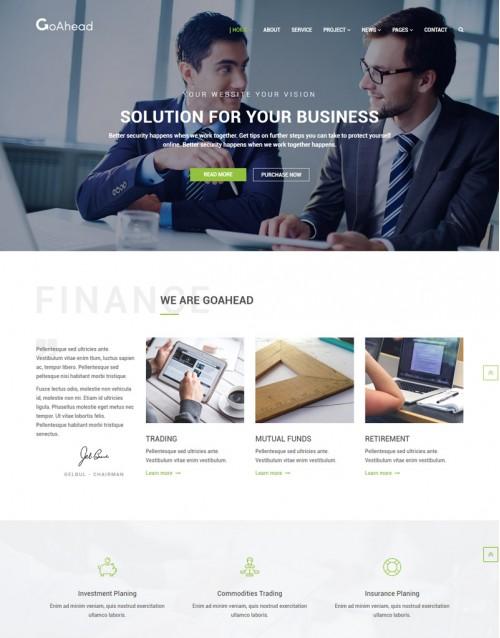 Template HTML5  Site Para assessorias em Negócios Goahead