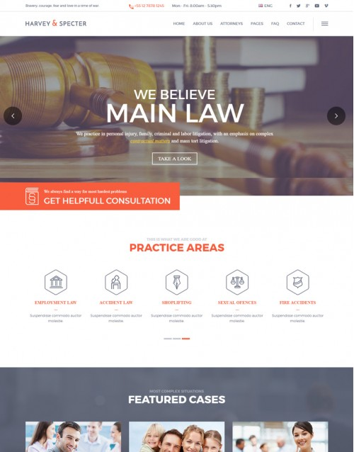 Template HTML5 Advocacia e Direito Harvey e Specter