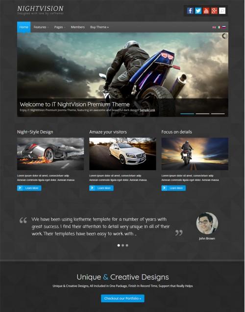 Template Joomla Concessionarias e Automóveis NightVision 3.x