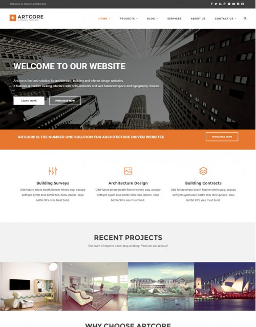 Tema Wordpress Arquitetura e Design de Interiores Artcore
