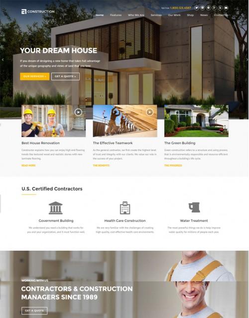 Tema Wordpress Construtoras, Imobiliárias Construction